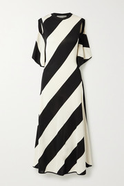 + NET SUSTAIN striped stretch-knit midi dress