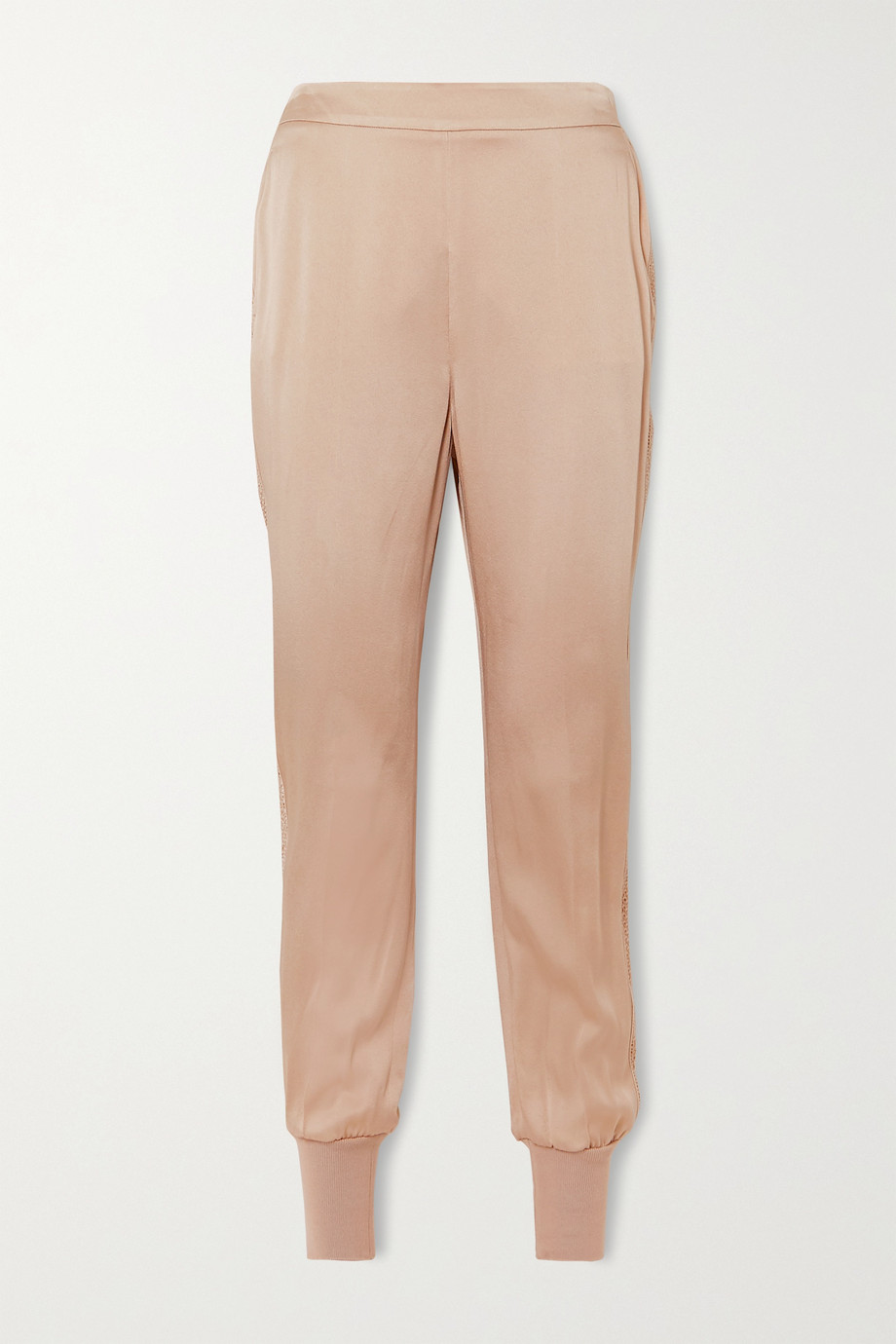Stella McCartney + NET SUSTAIN Julia crochet-trimmed satin track pants