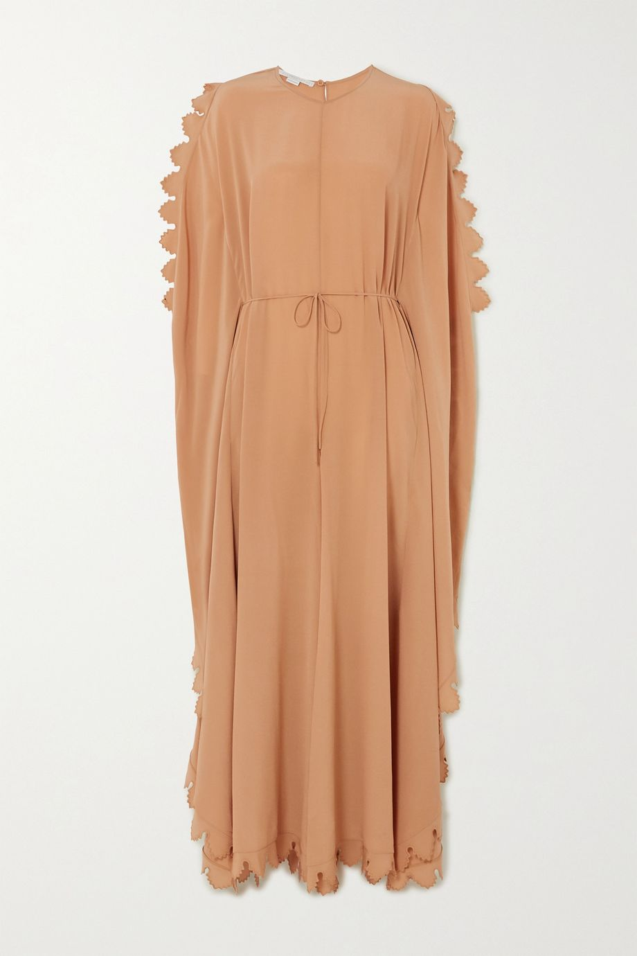 Stella McCartney Bobbi cape-effect scalloped silk crepe de chine jumpsuit