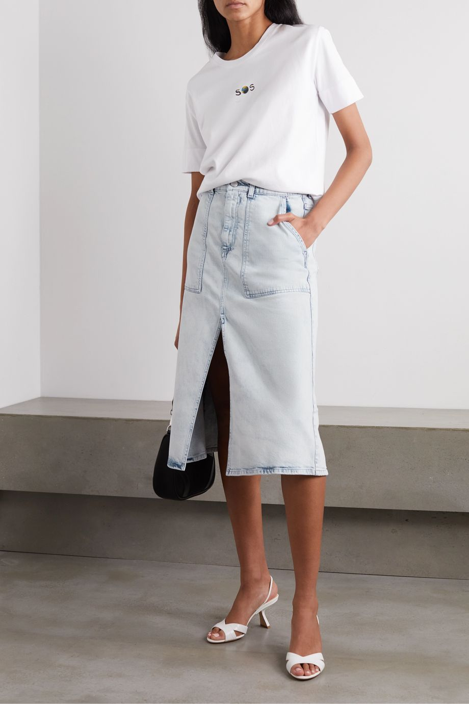 Stella McCartney + NET SUSTAIN paneled organic denim skirt