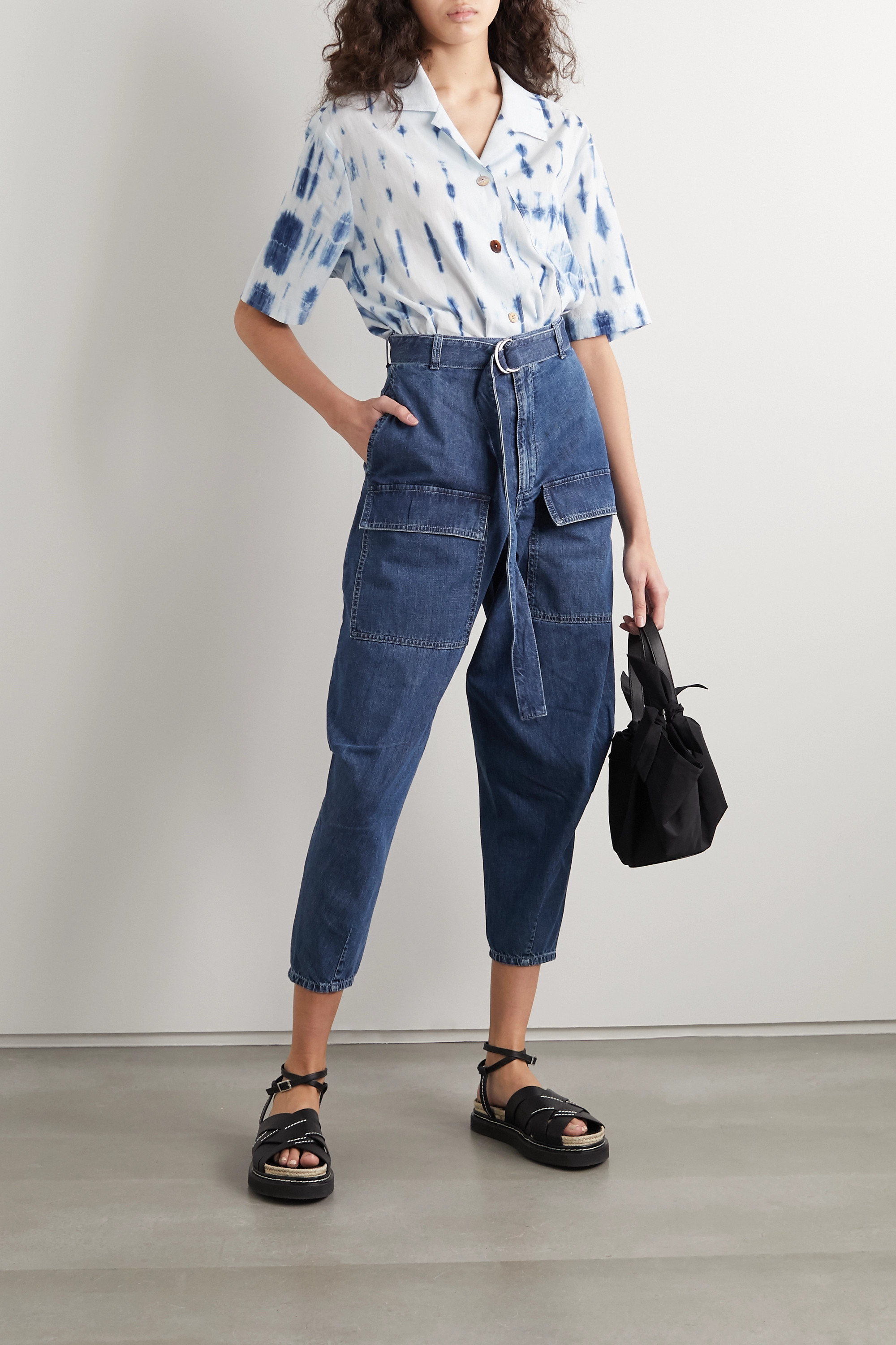 Stella McCartney + NET SUSTAIN belted high-rise tapered jeans