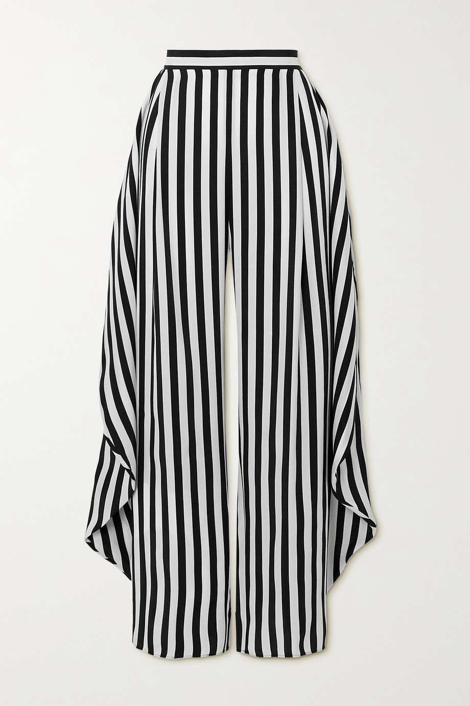 Stella McCartney Alicia draped striped silk wide-leg pants