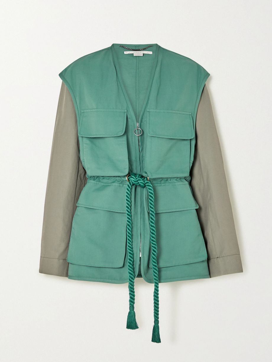 Stella McCartney + NET SUSTAIN Ania belted two-tone brushed twill-jacket
