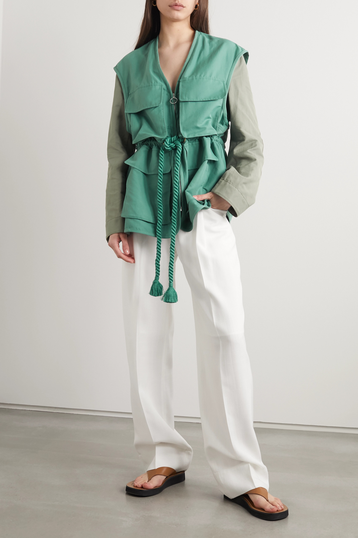 Stella McCartney + NET SUSTAIN Ania belted two-tone brushed twill-jacket