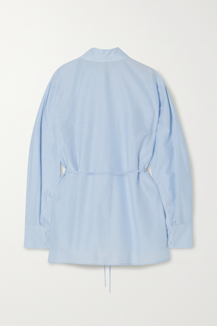 Stella McCartney + NET SUSTAIN tie-detailed scalloped organic cotton and silk-blend poplin shirt