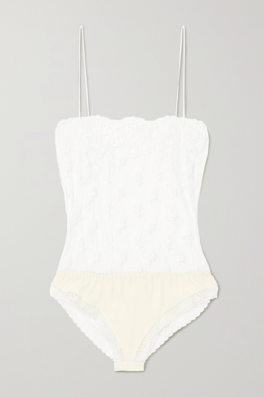 Stella McCartney Cotton-blend lace and silk-satin bodysuit