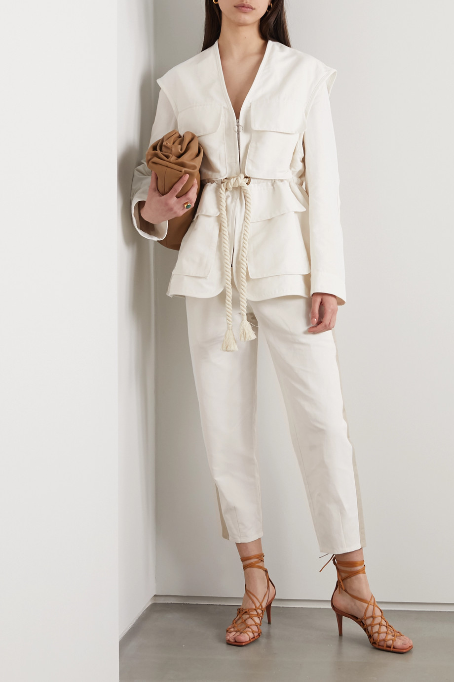 Stella McCartney + NET SUSTAIN Amanda tie-detailed two-tone brushed-twill straight-leg pants