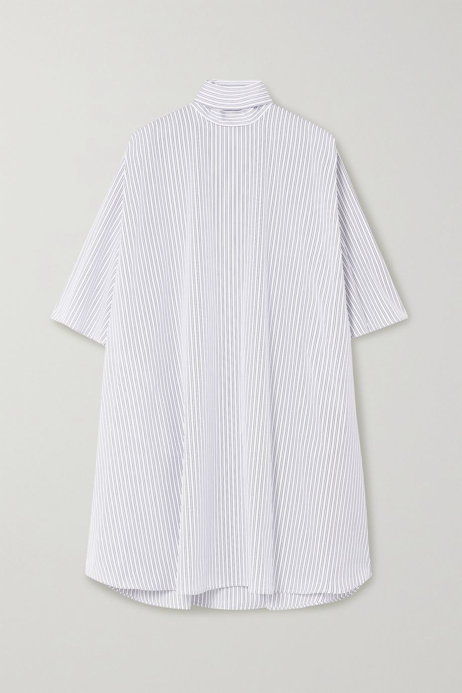 Givenchy Oversized tie-neck striped cotton-poplin mini dress