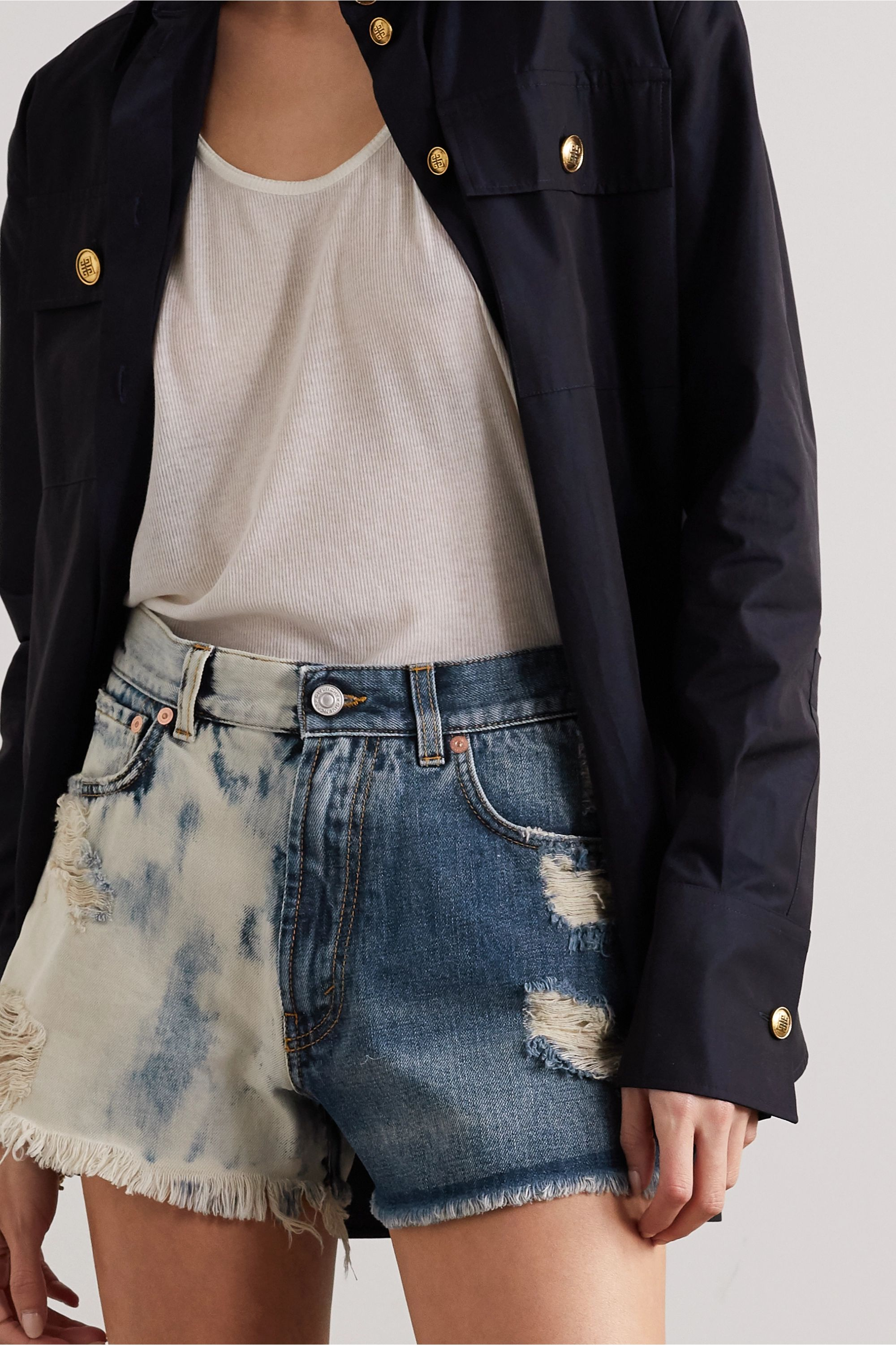 Givenchy Distressed tie-dyed denim shorts