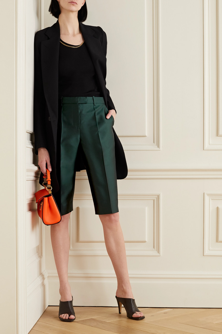 Givenchy Wool and silk-blend satin-twill shorts