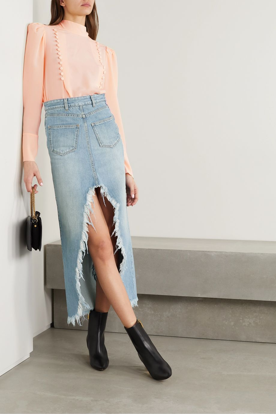 Givenchy Frayed denim midi skirt