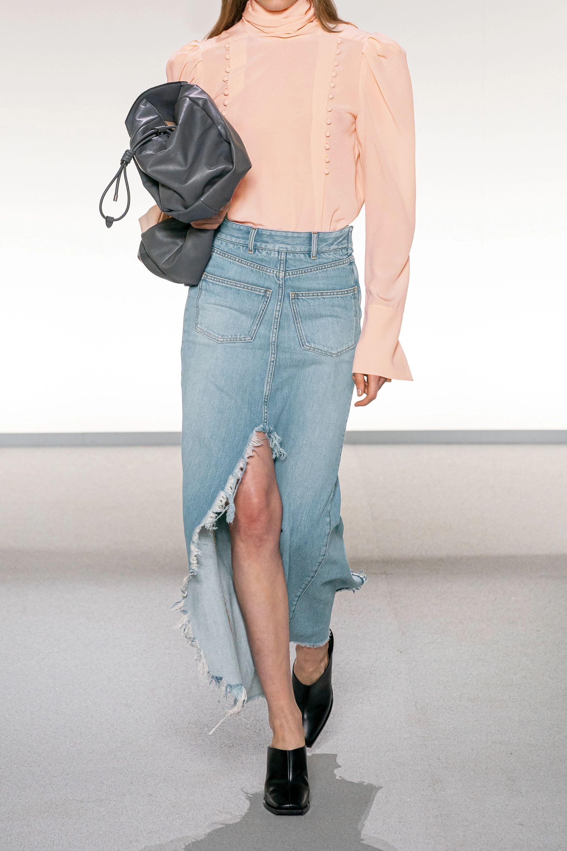 Givenchy Midirock aus Denim mit Fransen