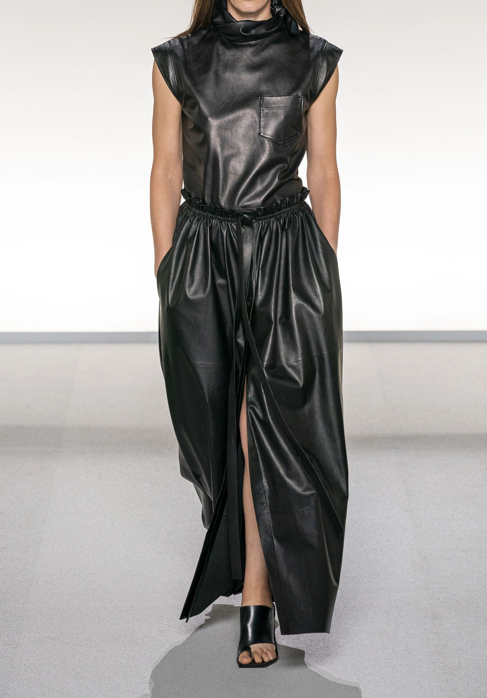 Givenchy Tie-neck leather top