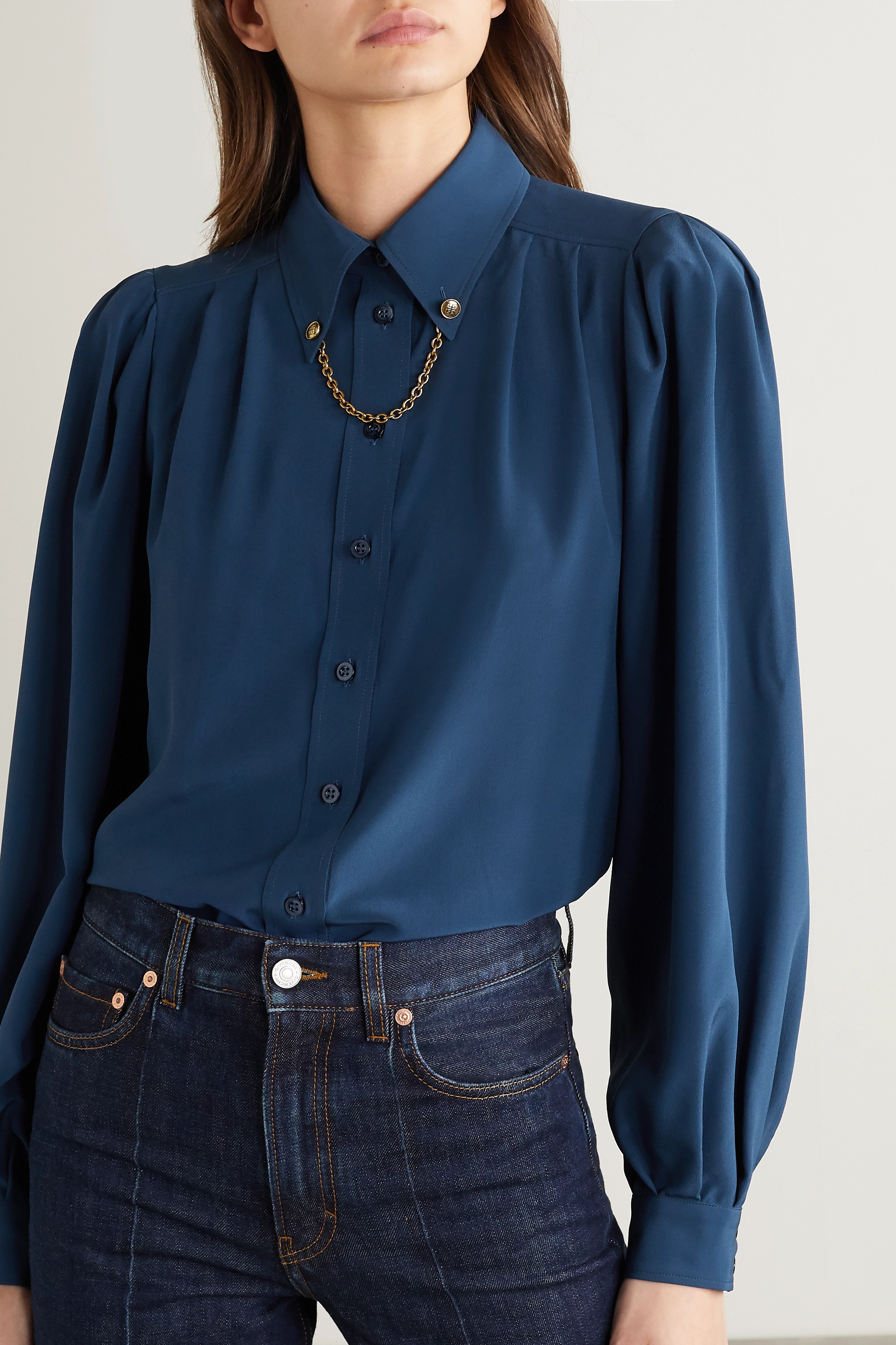 Givenchy Chain-embellished silk crepe de chine shirt
