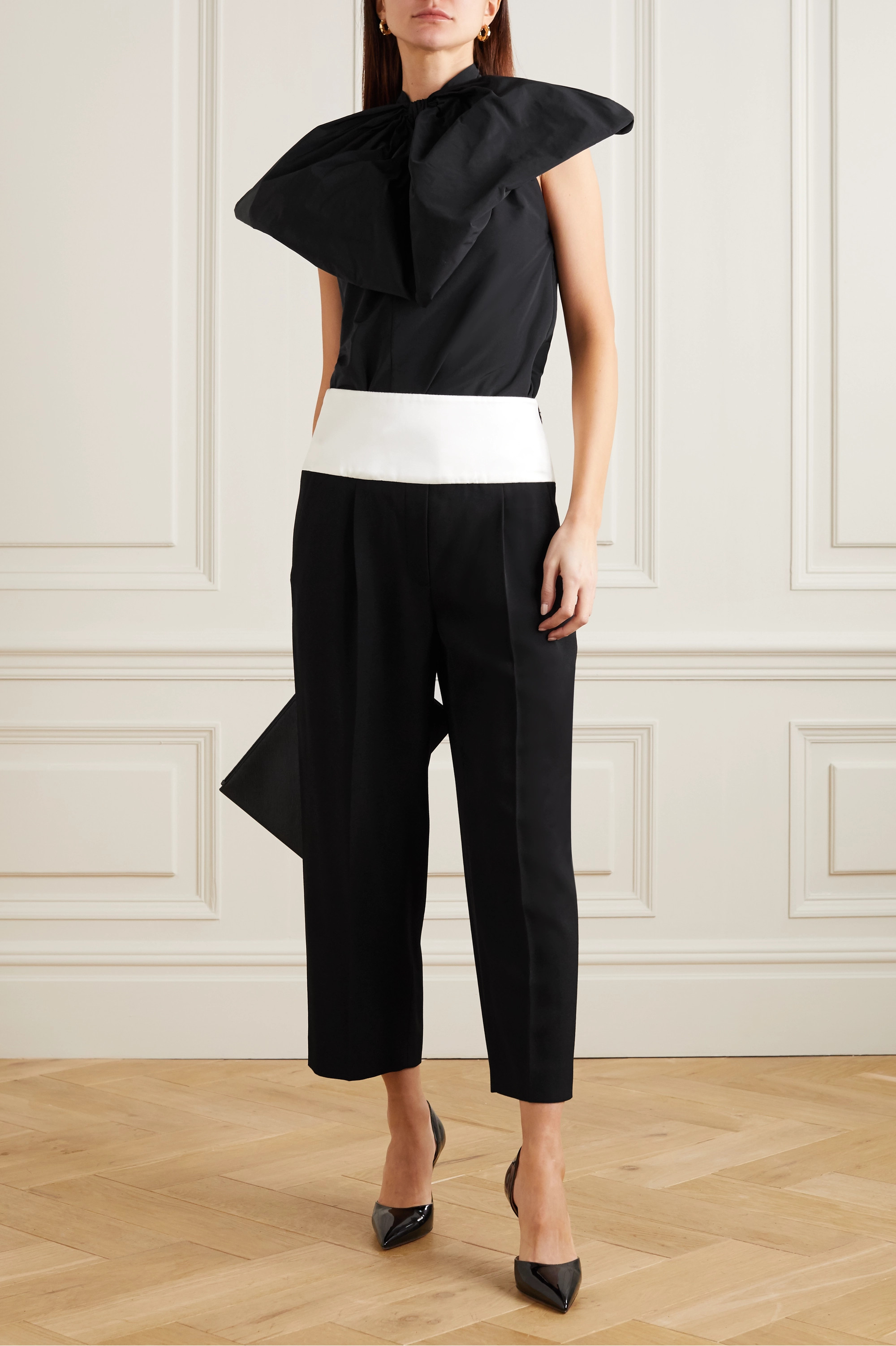 Givenchy Bow-embellished cotton-blend taffeta halterneck blouse