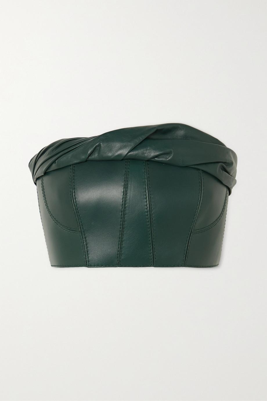 Givenchy Haut bustier en cuir froncé