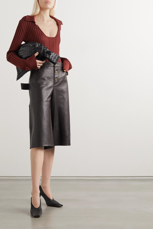 Bottega Veneta Textured glossed-leather pumps