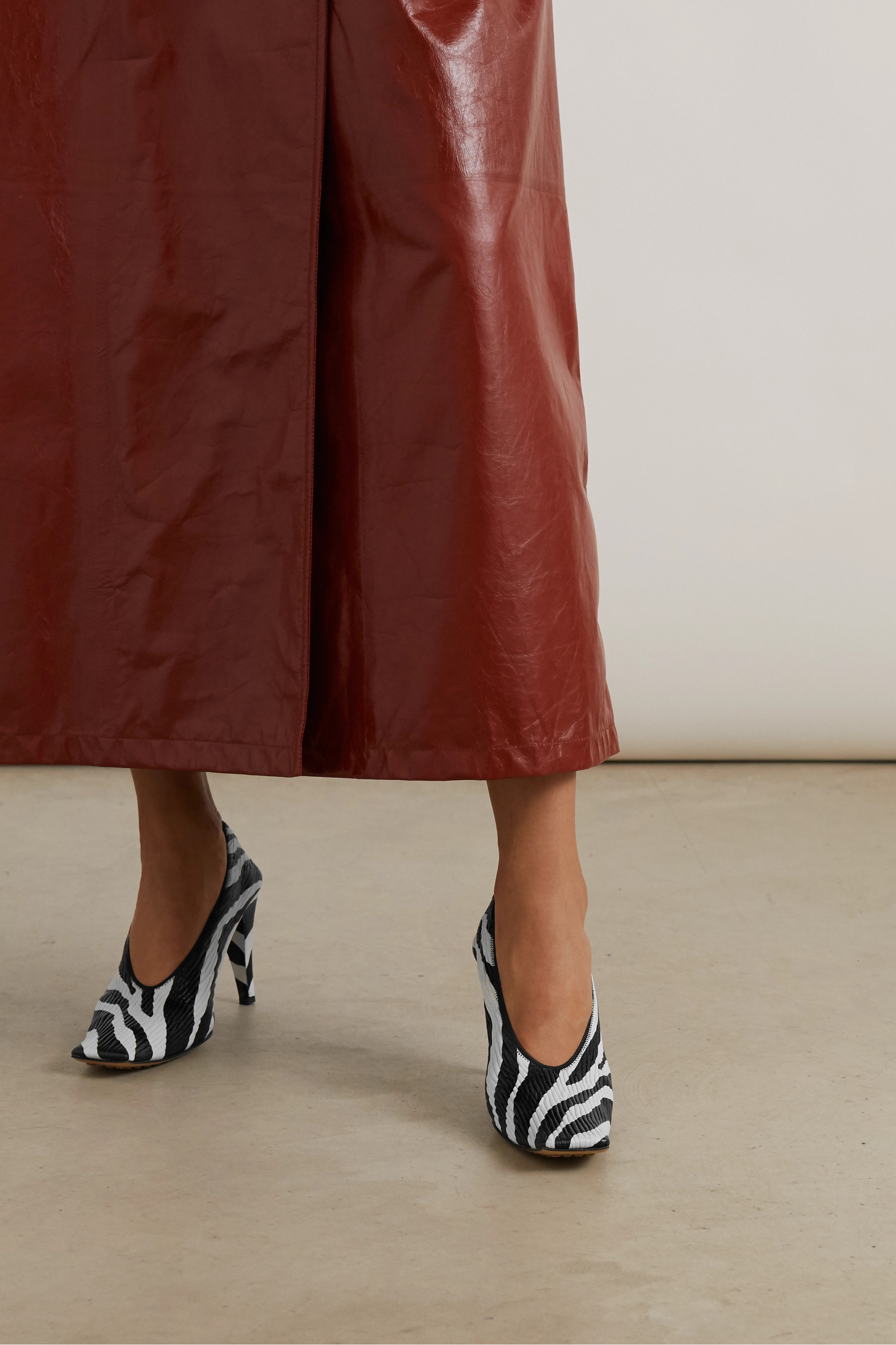 Bottega Veneta Zebra-print textured-leather pumps