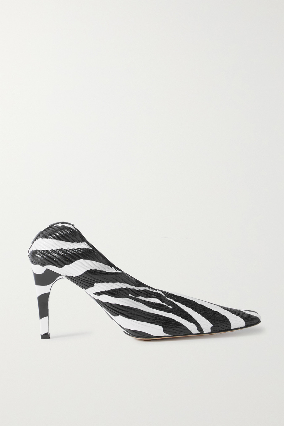 Bottega Veneta Zebra-print textured-leather pumps