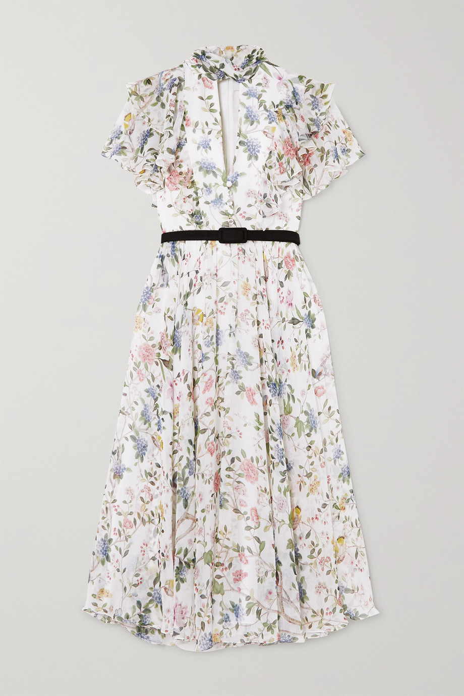 Erdem Giudita tie-neck belted floral-print silk-voile dress