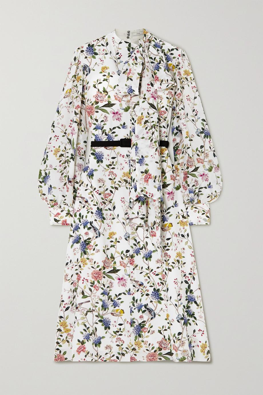 Erdem Marceline Midikleid aus Crêpe de Chine aus Seide mit Blumenprint, Schluppe und Gürtel