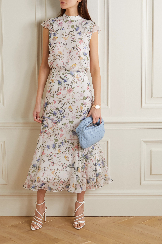 Erdem Shea printed silk-voile midi skirt