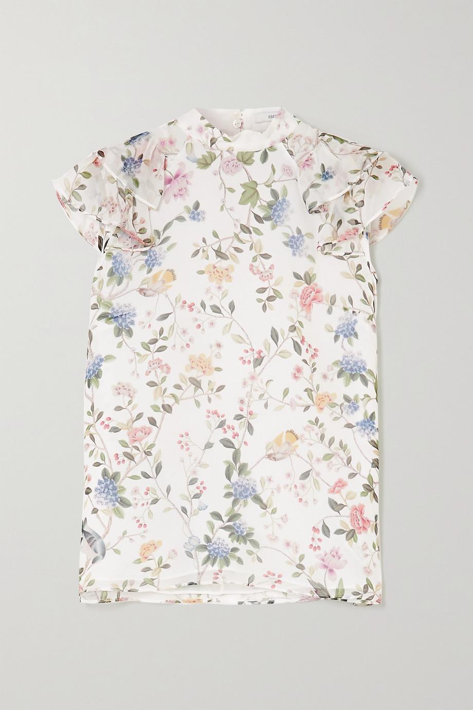 Erdem Opal Bluse aus bedrucktem Seiden-Voile mit Rüschen