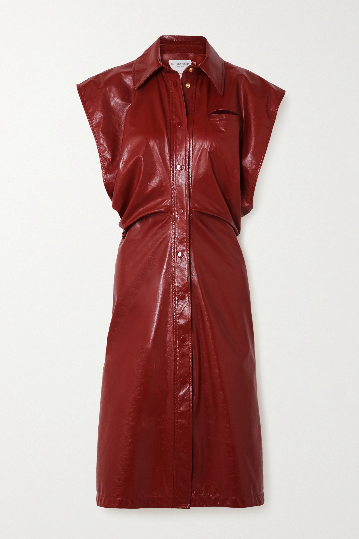 Bottega Veneta Cutout patent-leather midi dress
