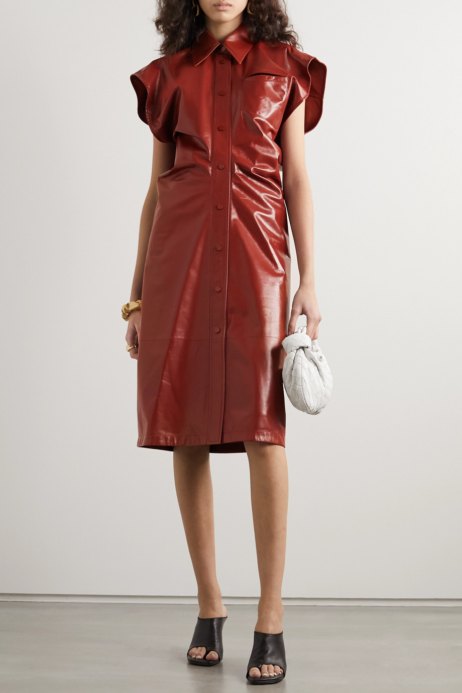 Bottega Veneta Cutout patent-leather midi dress