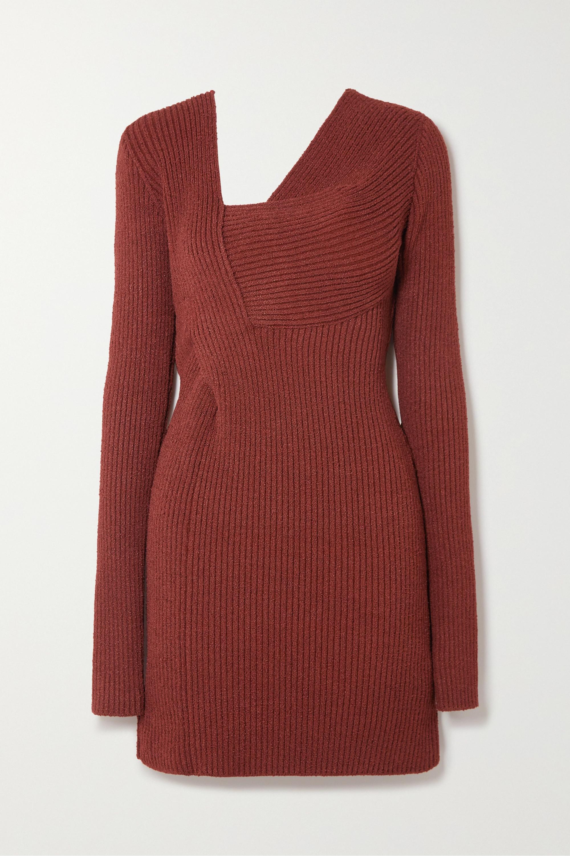 Bottega Veneta Mini-robe en chenille de soie mélangée côtelée à découpes