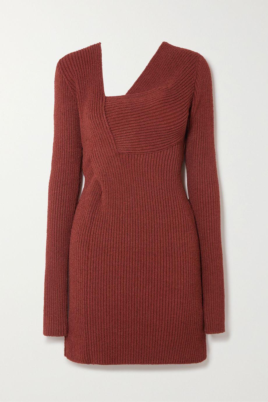 Bottega Veneta Cutout ribbed silk-blend chenille mini dress
