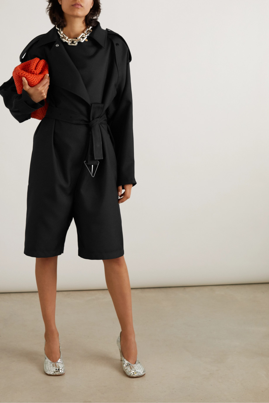 Bottega Veneta Double-breasted belted twill playsuit