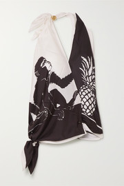 Bottega Veneta Printed silk-satin twill halterneck top