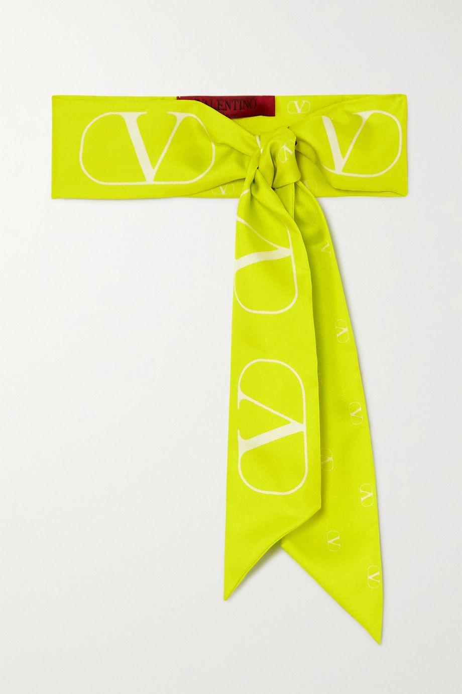 Valentino 荧光印花真丝斜纹布围巾