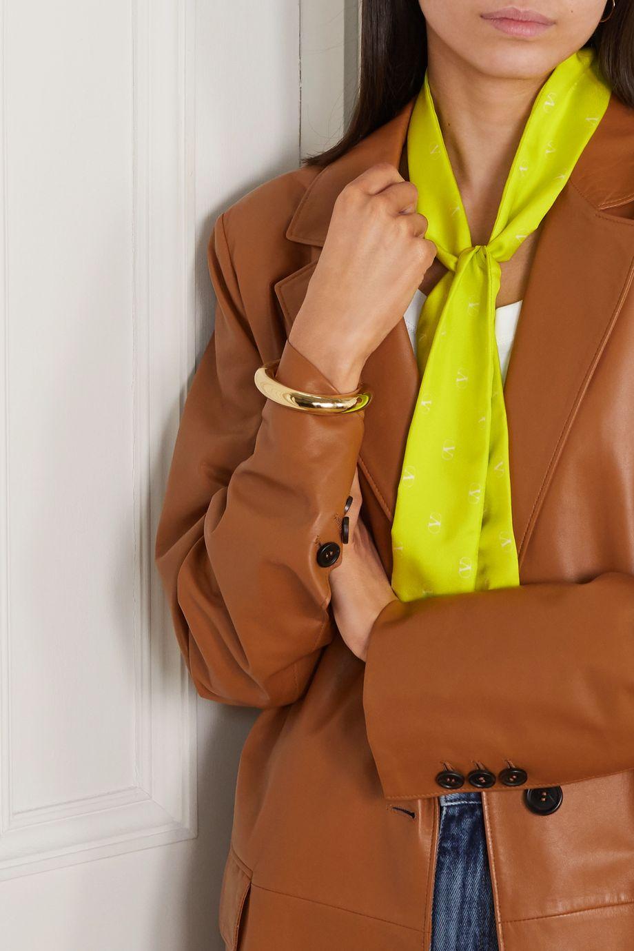 Valentino Neon printed silk-twill scarf