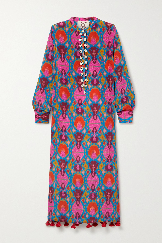 Figue Paolina tasseled shell-embellished printed crepe de chine midi dress