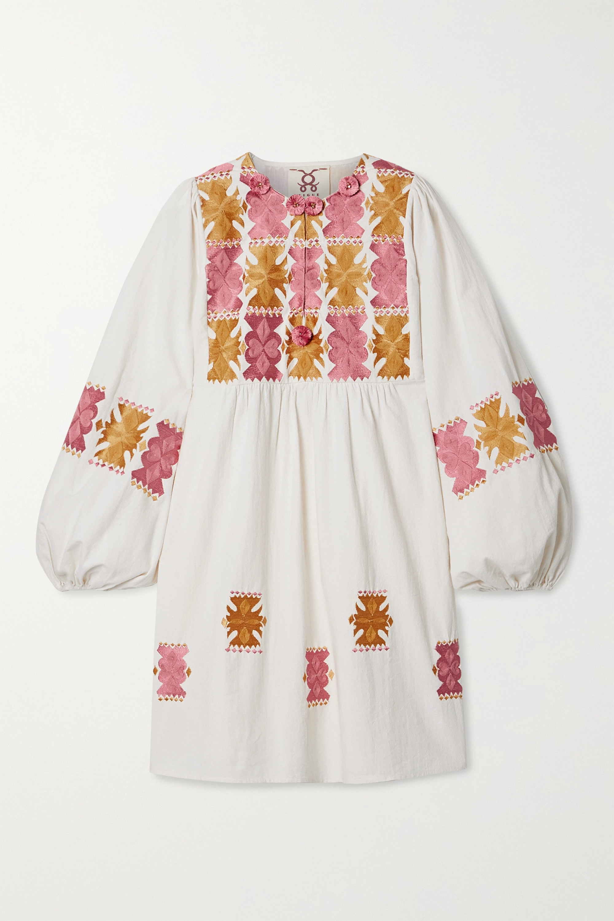 Figue Lucie embroidered cotton mini dress