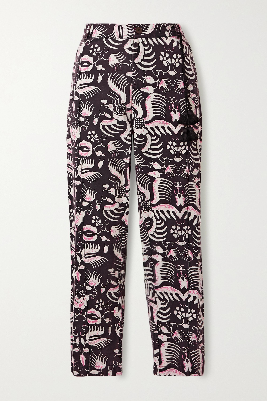 Figue Pantalon fuselé en serge de coton imprimée Zulu