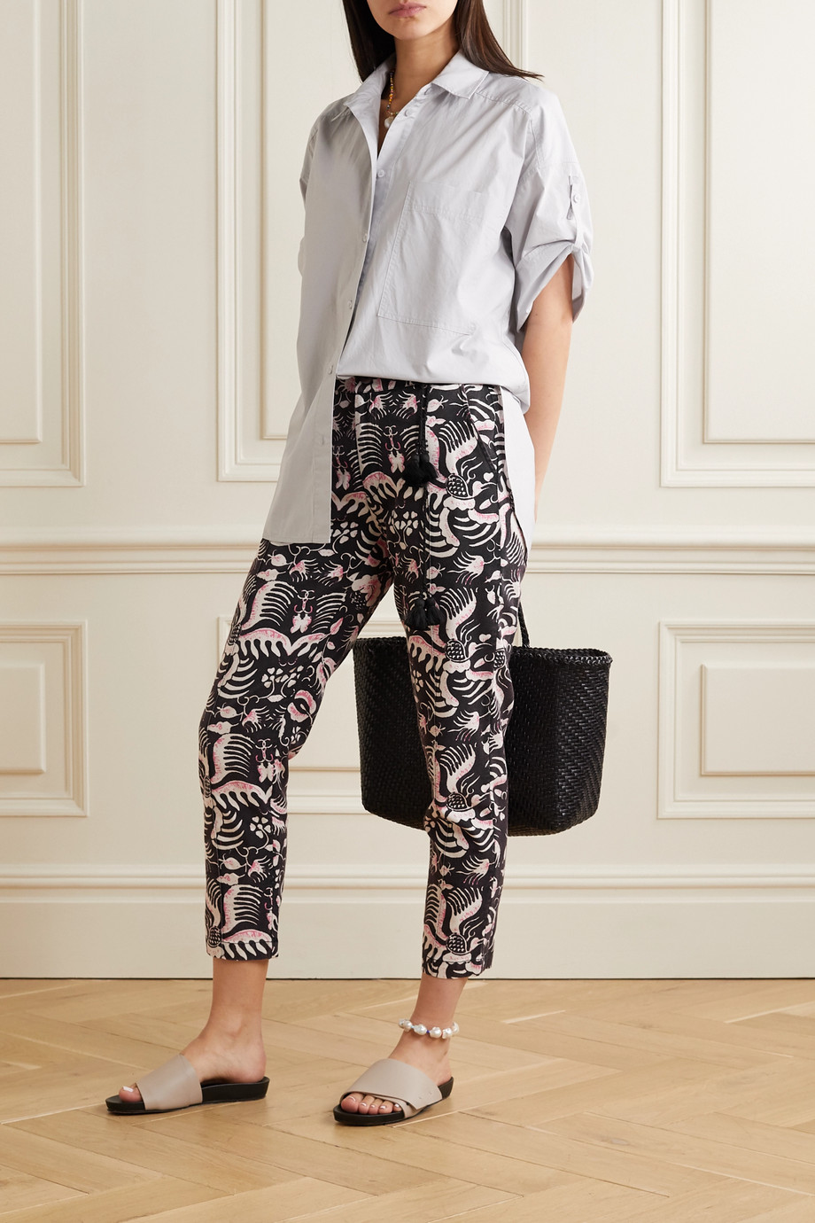 Figue Zulu printed cotton-twill tapered pants