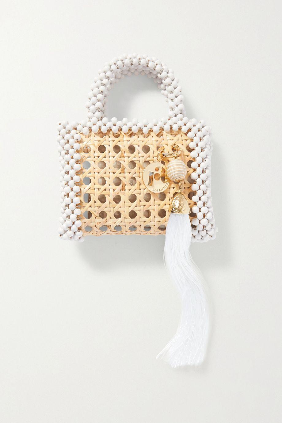 Rosantica Alida mini tasseled beaded wicker tote