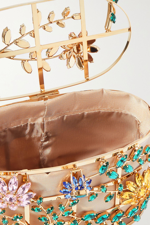 Rosantica Holli Sofia crystal-embellished gold-tone and satin tote