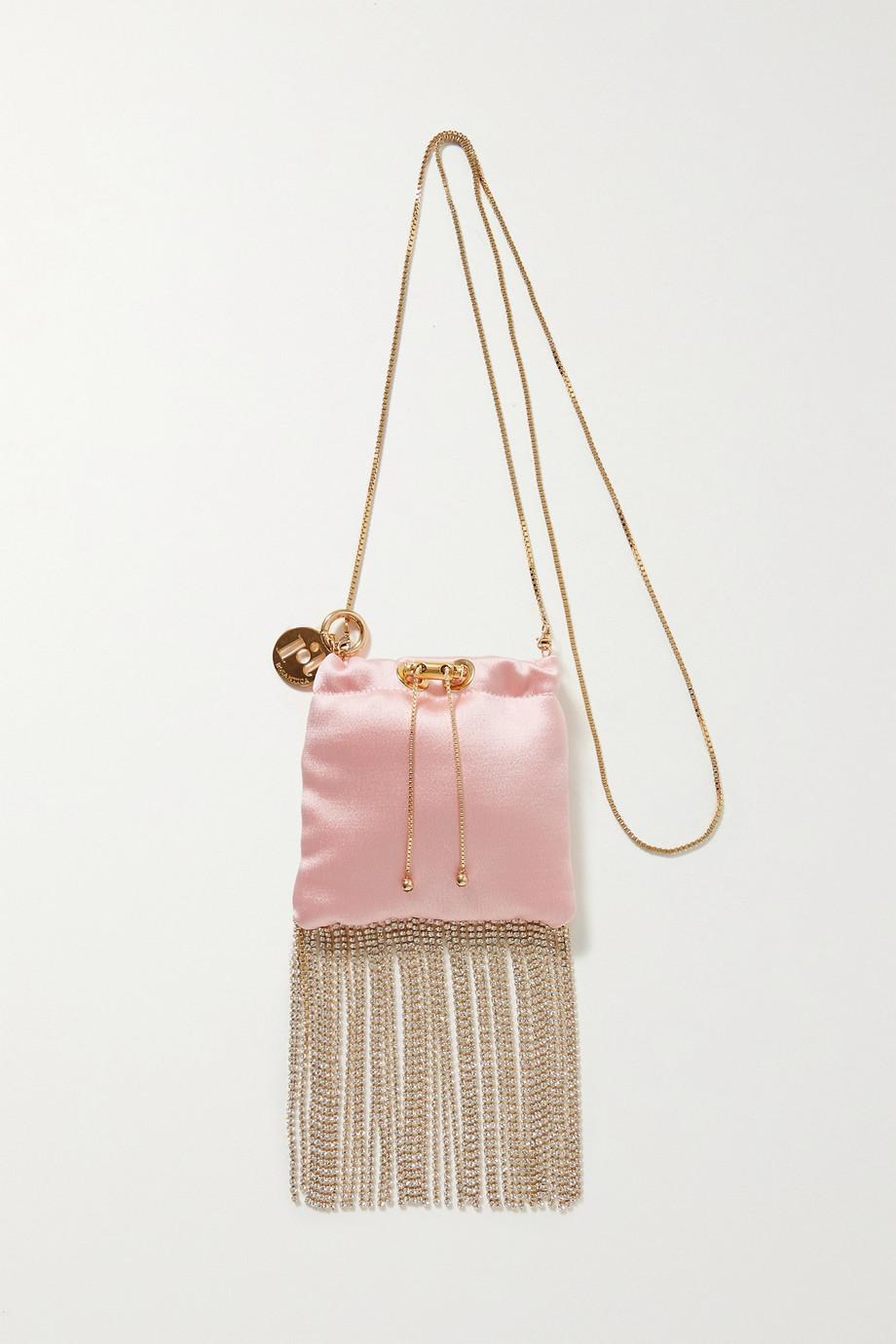 Rosantica Fatalina mini fringed crystal-embellished satin shoulder bag