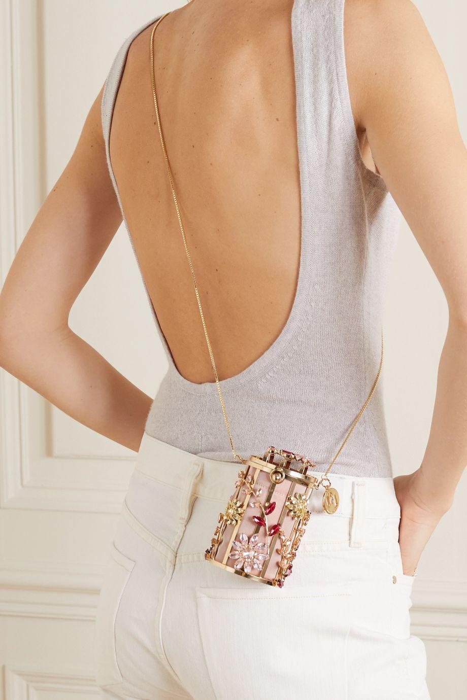 Rosantica Hippy Sofia crystal-embellished gold-tone and twill shoulder bag