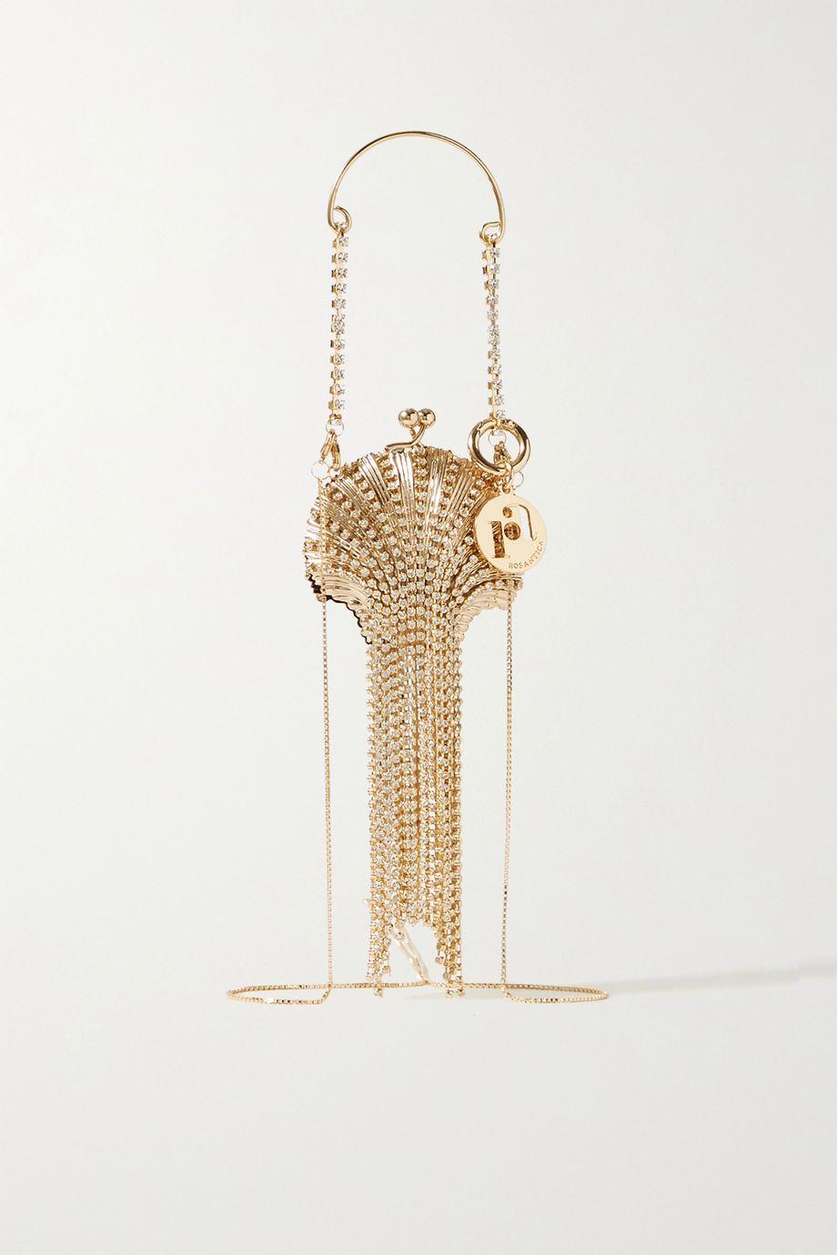 Rosantica Baby Shell fringed crystal-embellished gold-tone shoulder bag