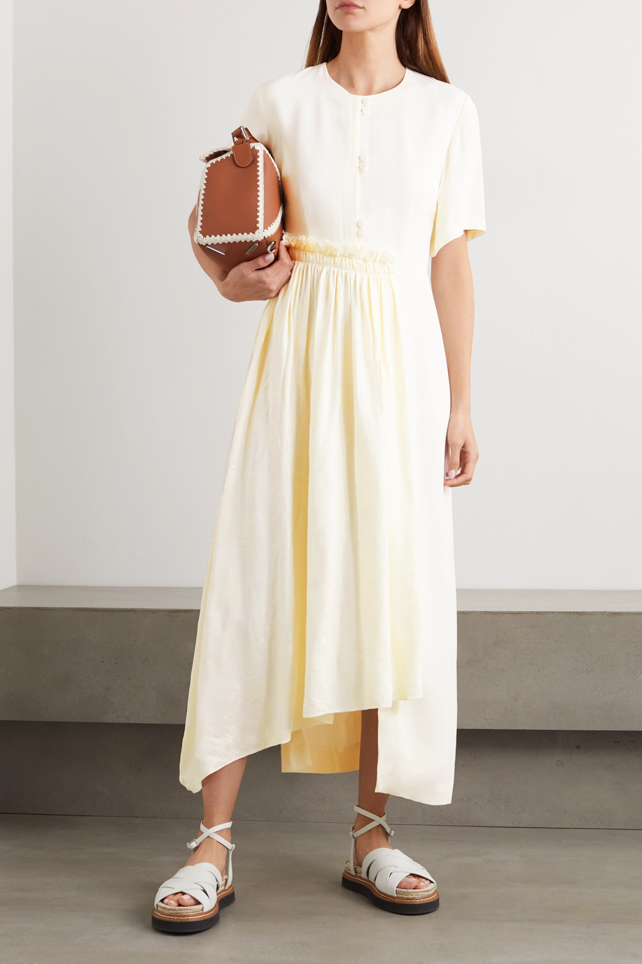 Mother of Pearl + NET SUSTAIN Meadow asymmetric crepe and floral-jacquard midi dress