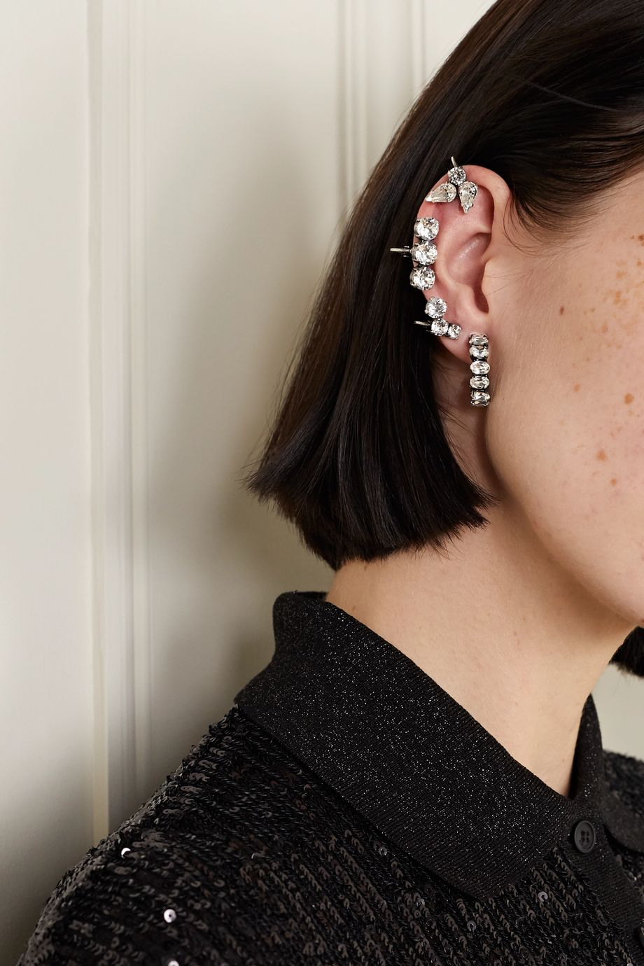 SAINT LAURENT Set of four silver-tone crystal clip earrings