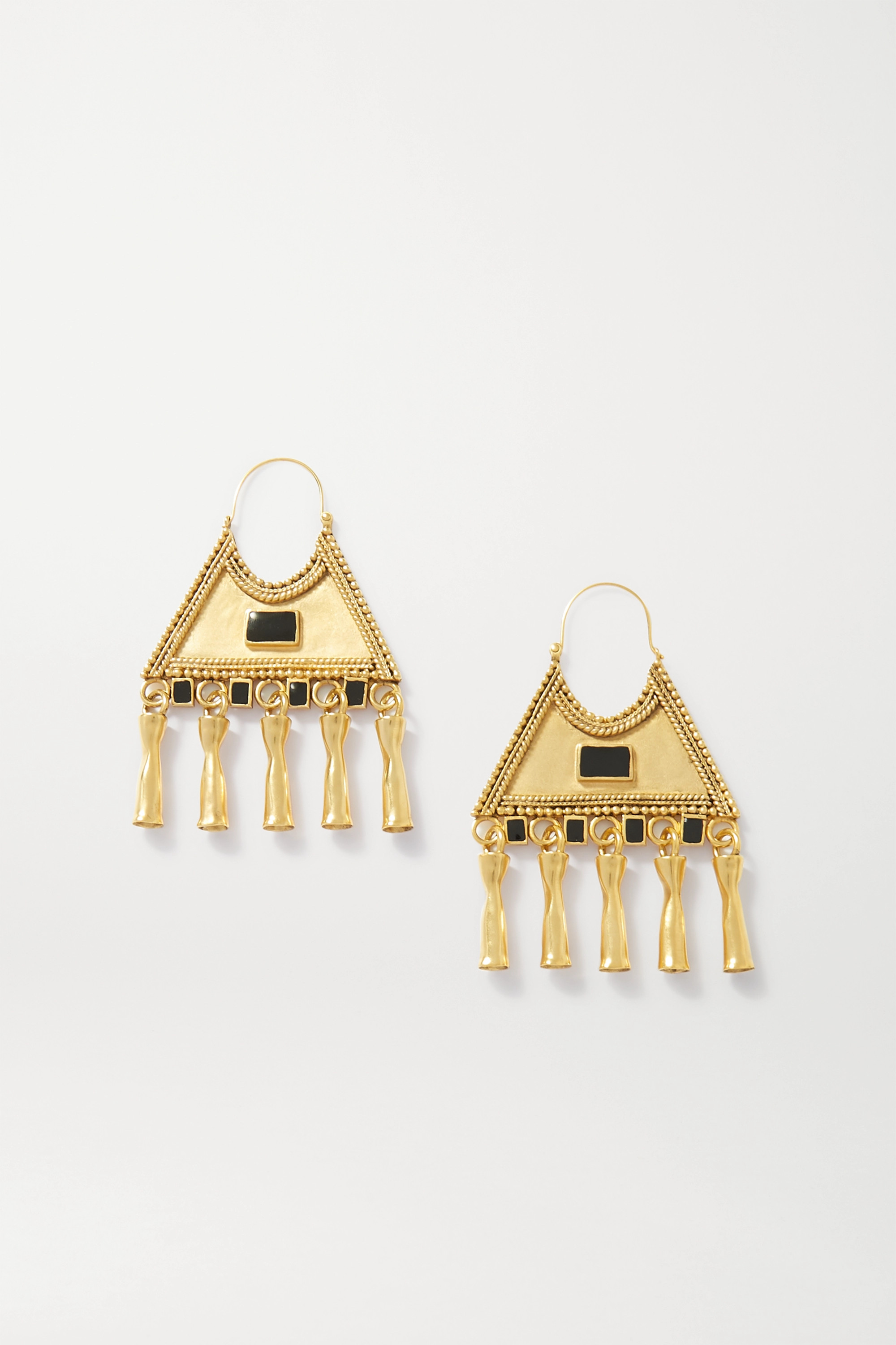 SAINT LAURENT Gold-tone and crystal earrings