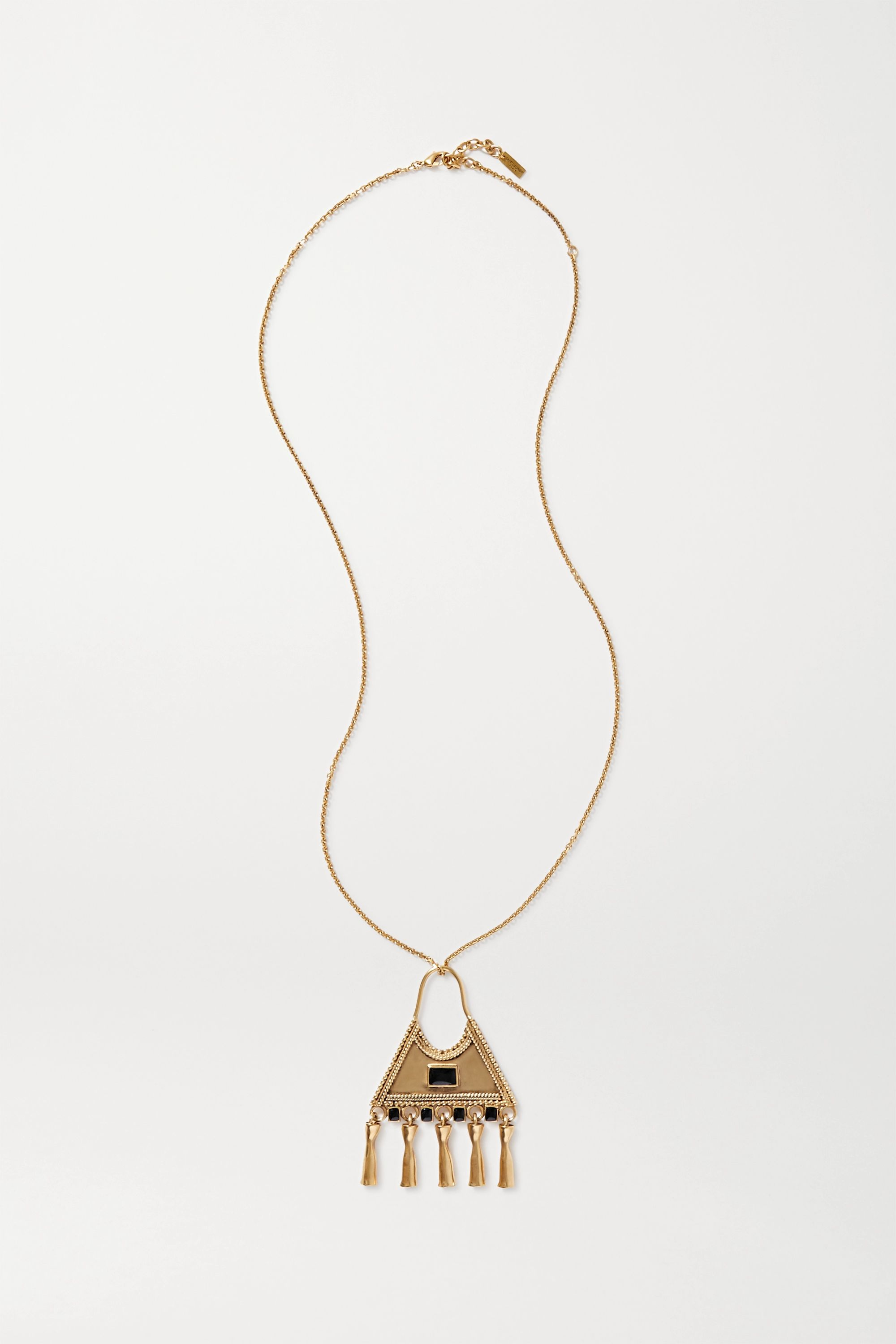 SAINT LAURENT Gold-tone and crystal necklace