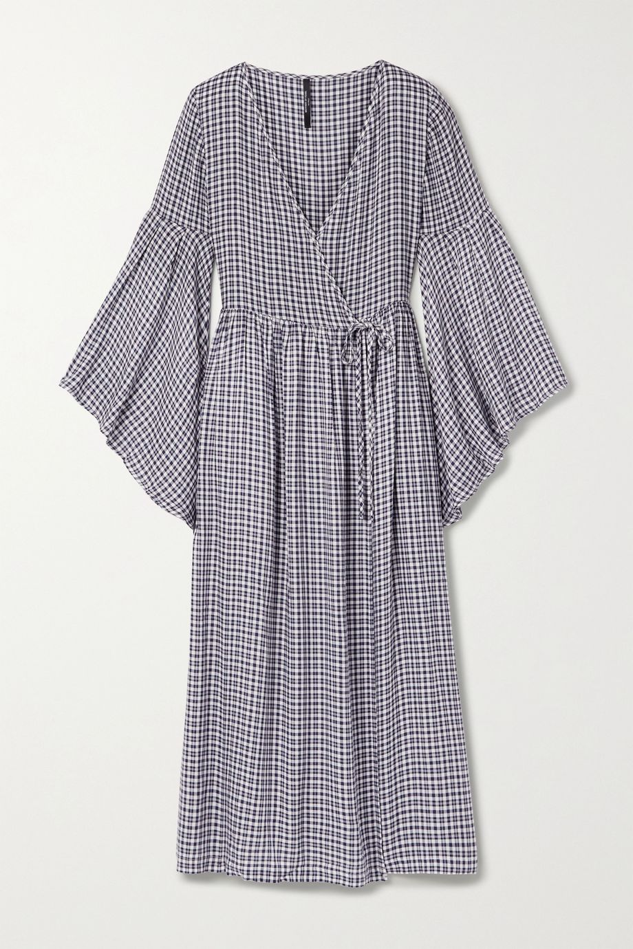 Mother of Pearl + NET SUSTAIN checked woven midi wrap dress