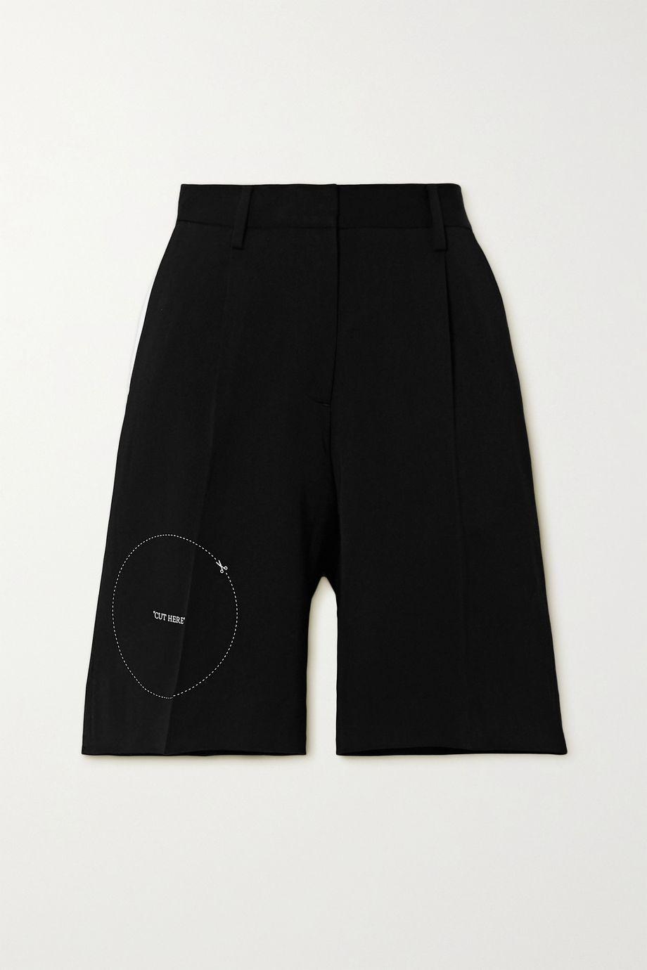 Off-White Embroidered gabardine shorts